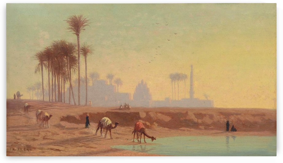 Caravan to the oasis by Charles-Theodore Frere