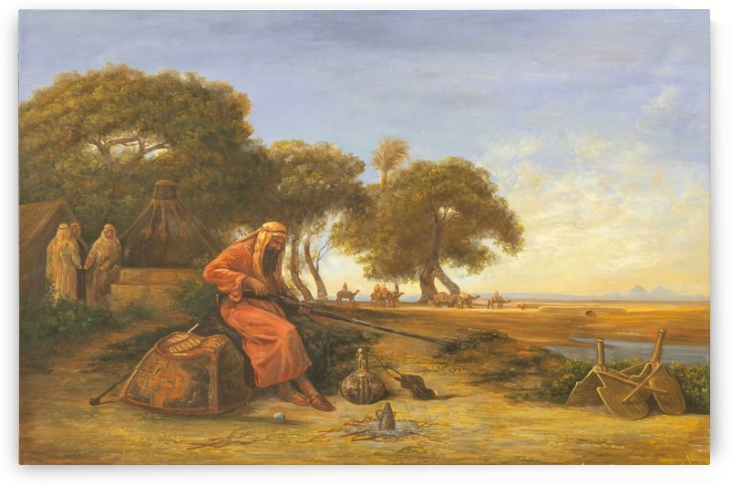 Arab encampment with trees in the back by Charles-Theodore Frere