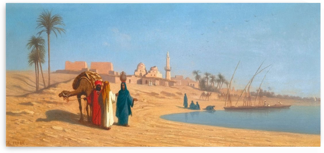 Conversation on the banks of the Nile by Charles-Theodore Frere