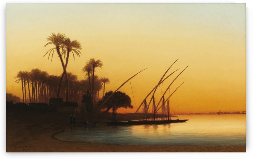 Sunset on the Nile by Charles-Theodore Frere