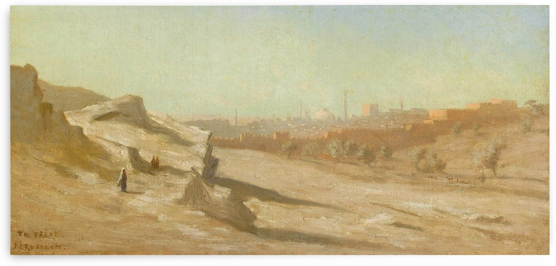 Figures outside city by Charles-Theodore Frere
