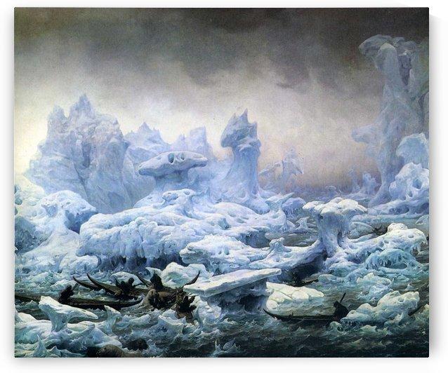 La Chasse des morses par des grœnlandais au mer polaire by Francois-Auguste Biard