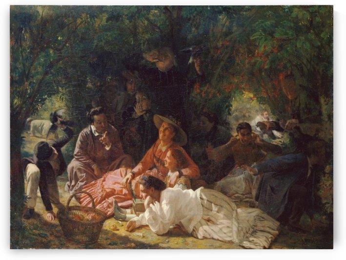 Plein air de pique-nique by Francois-Auguste Biard