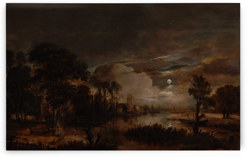 Landscape of a forest in the night time by Aert van der Neer