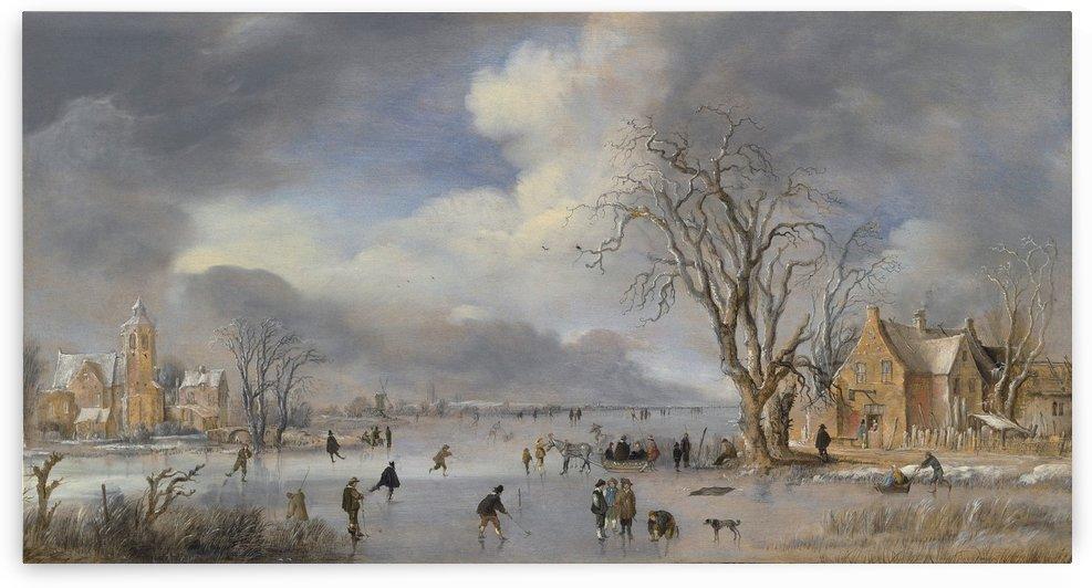 Winterlandschap met schaatsers en kolfspelers ca 1642 by Aert van der Neer