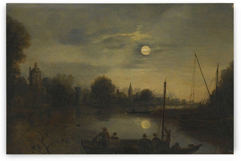 Landscape under the moonlight by Aert van der Neer