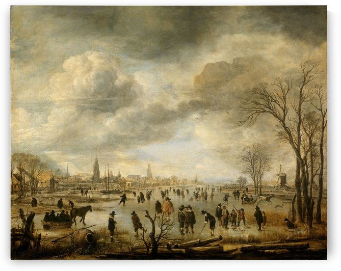 Lots of people on the river by Aert van der Neer