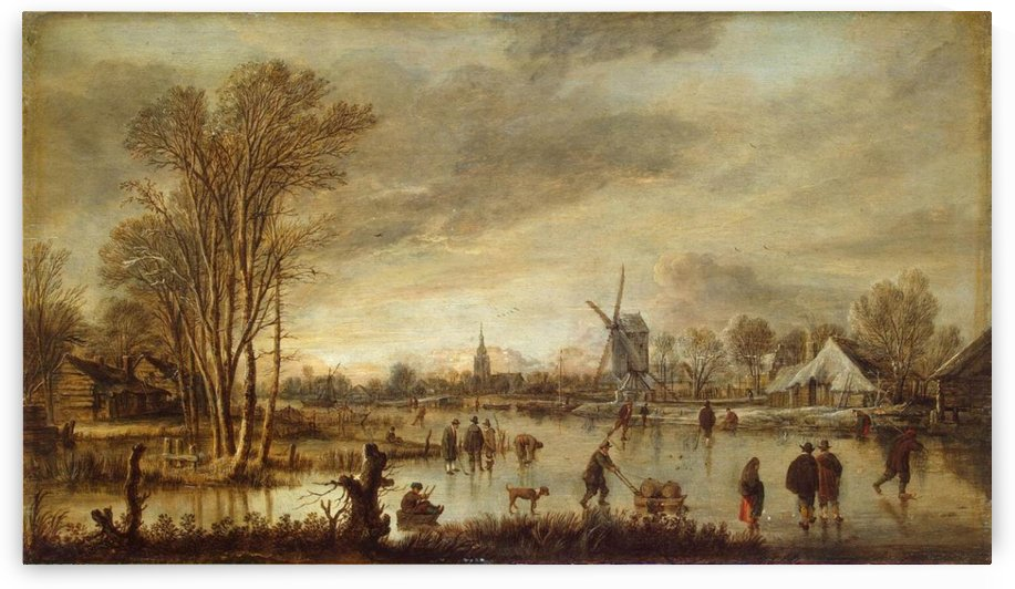 An old mill by the river by Aert van der Neer