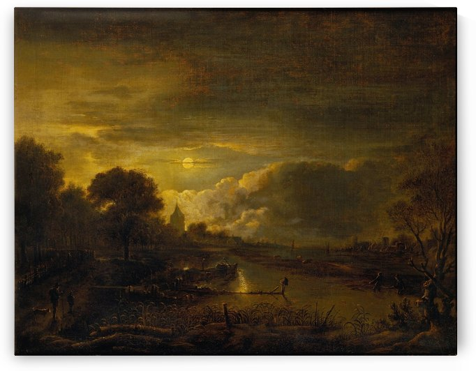 River Scene by Moonlight by Aert van der Neer