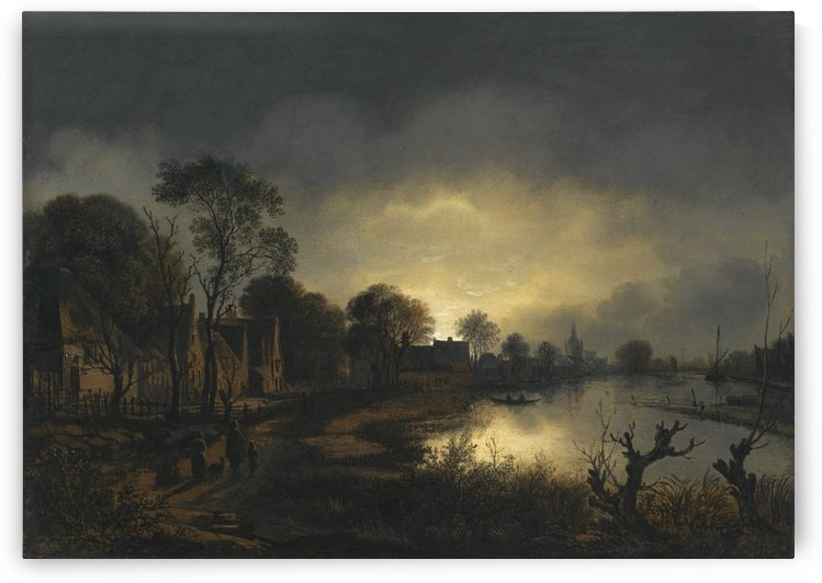 Houses by the river by Aert van der Neer