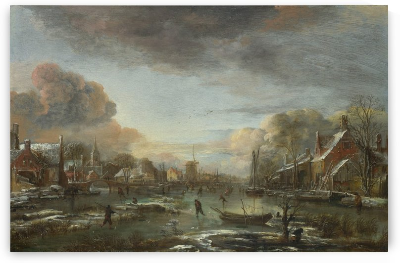 A Frozen River by a Town at Evening by Aert van der Neer