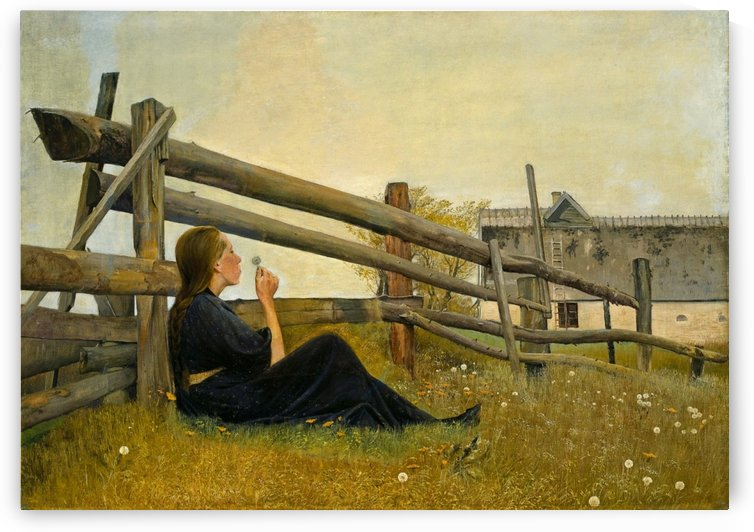 A young girl with a flower by Laurits Andersen Ring