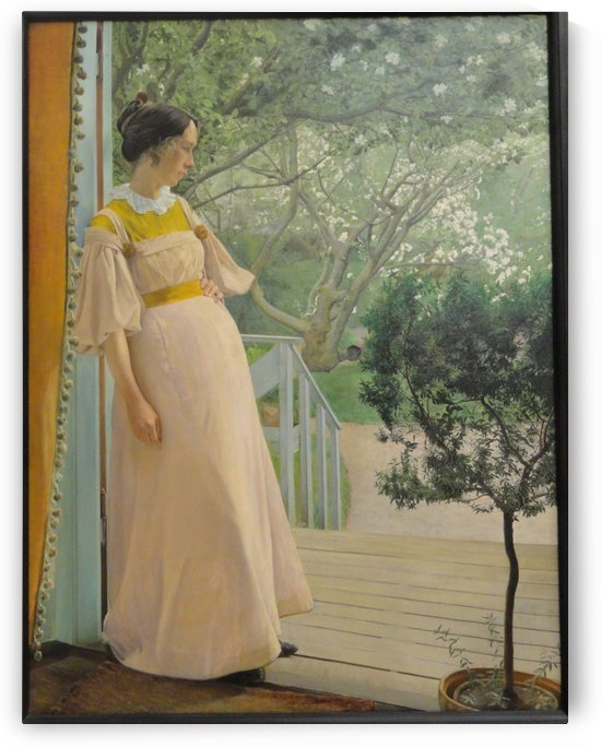 A young woman in a yellow dress by Laurits Andersen Ring