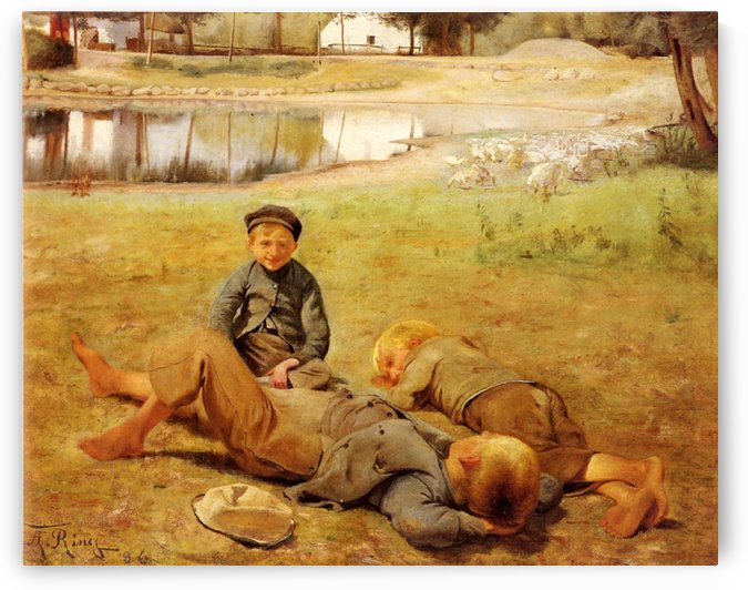Three children playing on the ground by Laurits Andersen Ring