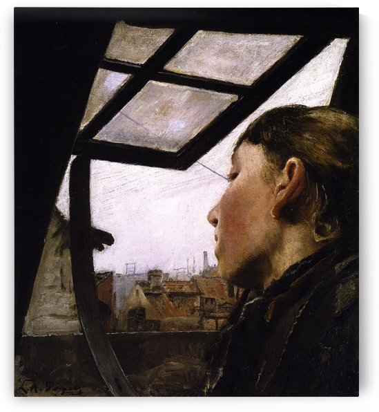 Young girl looking through the window by Laurits Andersen Ring