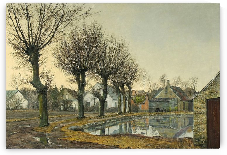 Landscape of houses with a lake by Laurits Andersen Ring