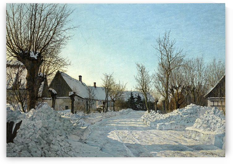 A winter day landscape by Laurits Andersen Ring