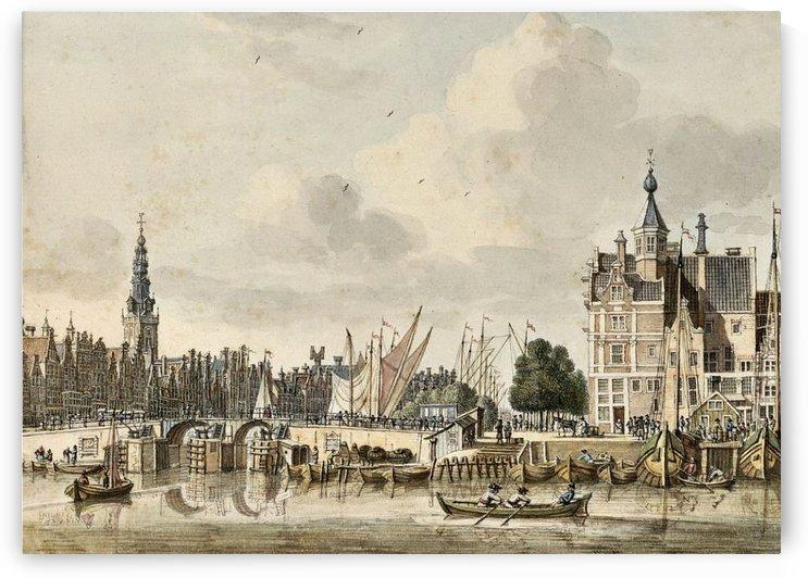 Boats in the harbour by Jan de Beijer
