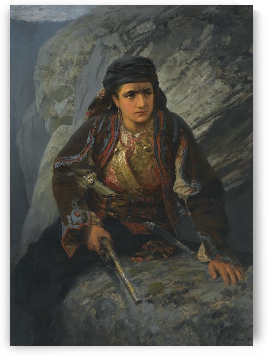 A woman with a rifle by Vasily Dmitrievich Polenov