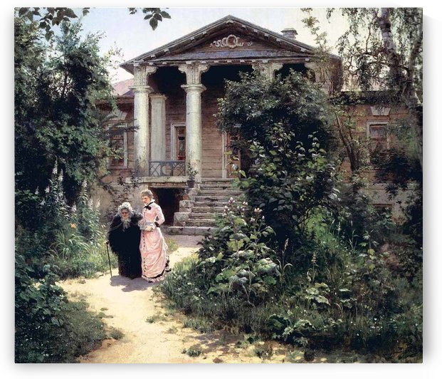 Two women in front of a house by Vasily Dmitrievich Polenov
