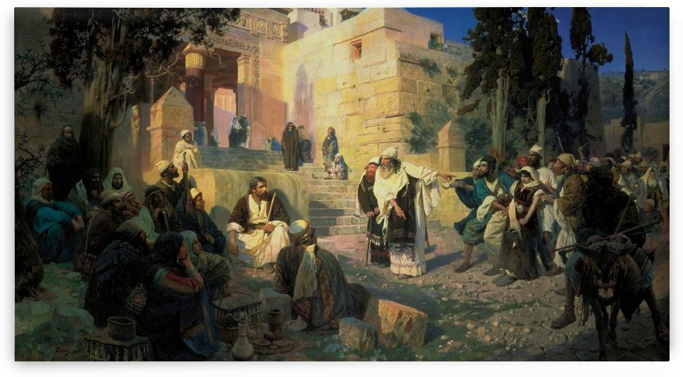 A gathering of men in front of the temple by Vasily Dmitrievich Polenov