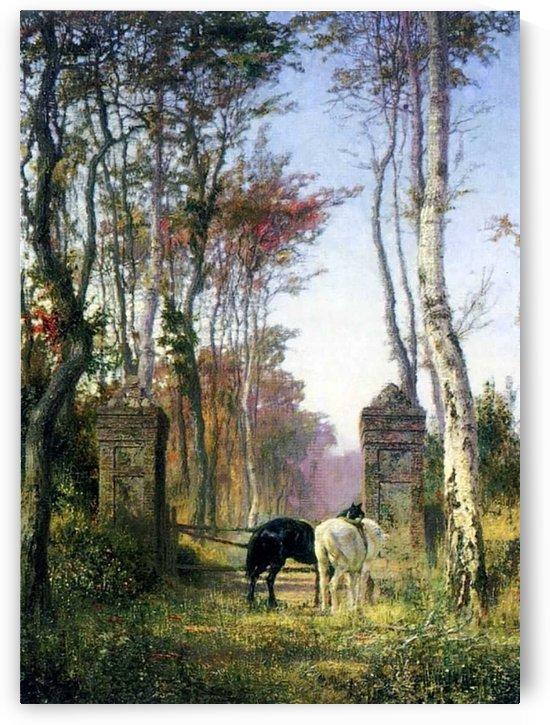 A black and a white horse by Vasily Dmitrievich Polenov