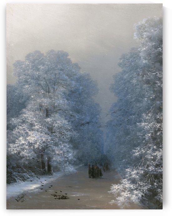 People walking in the woods in winter by Vasily Dmitrievich Polenov