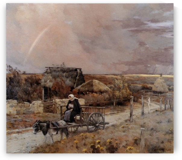A woman in a carriage by Jean-Charles Cazin