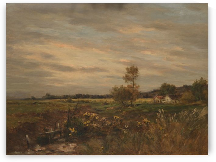 A field with houses by Jean-Charles Cazin