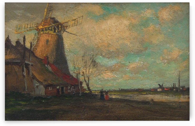 People by the windmill by Jean-Charles Cazin