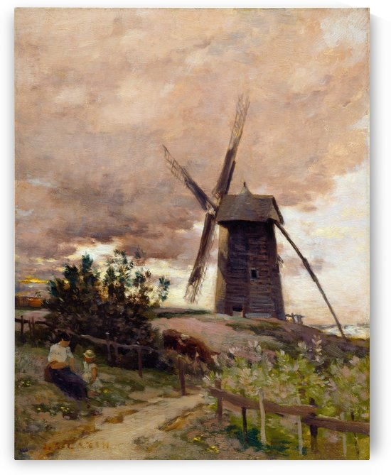 Le moulin a vent by Jean-Charles Cazin