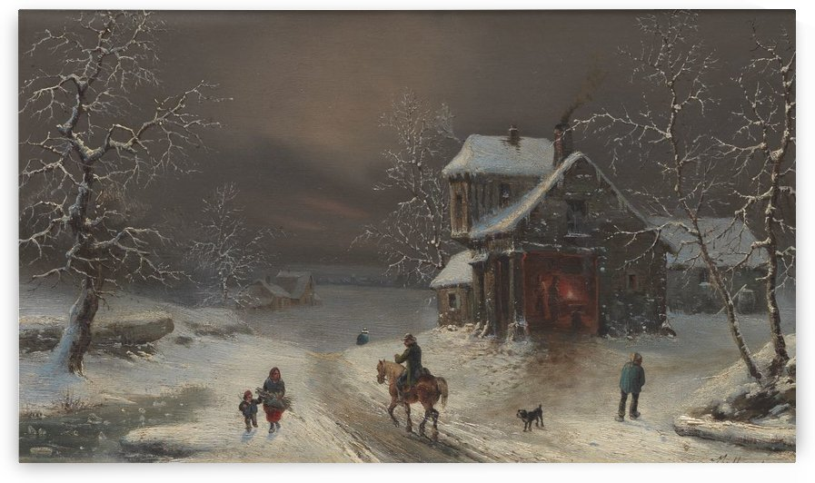 A winter time landscape by Jean-Charles Cazin