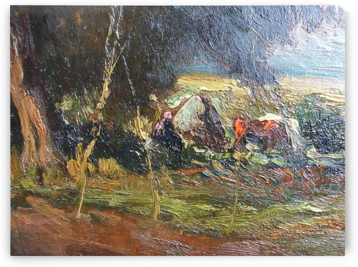 Trees and cart by Jean-Charles Cazin