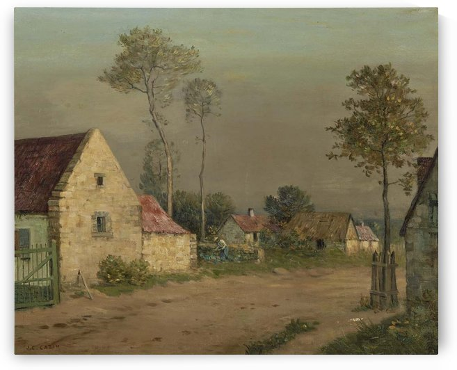A road with houses by Jean-Charles Cazin