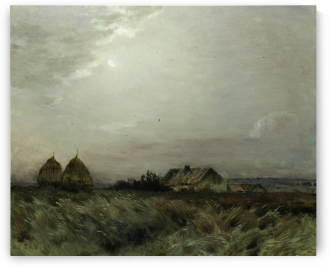 Landscape with a house and haystacks by Jean-Charles Cazin