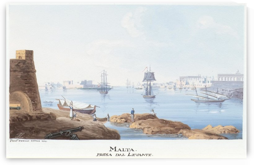 Malta presa dal Levante 1825 by Francesco Zerillo