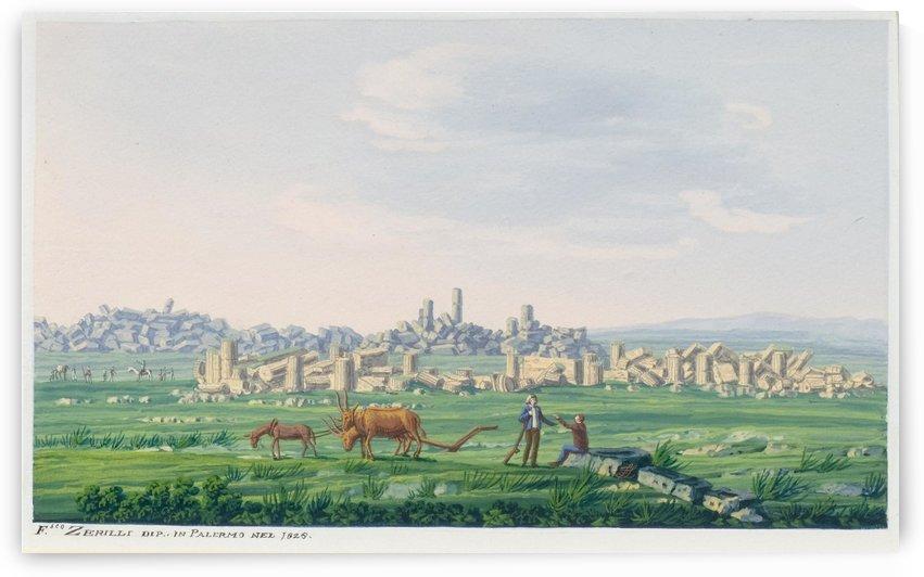 Ruinenlandschaft auf Sizilien 1828 by Francesco Zerillo