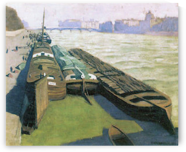 Barges on the banks of the Seine by Felix Vallotton by Felix Vallotton