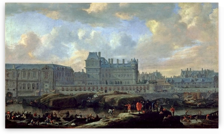 View of the Louvre and the small old Bourbon Palace by Rayner Noms