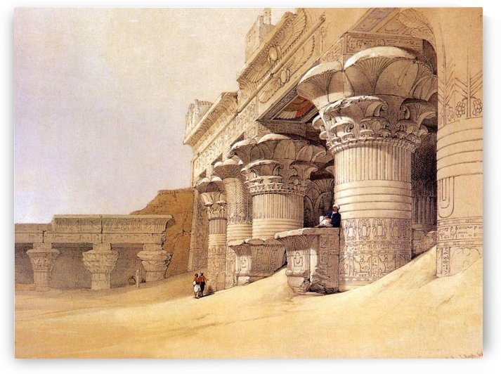Outer court of the Temple at Edfou by David Roberts