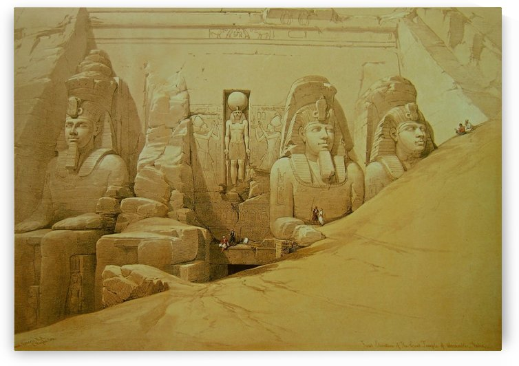 Colossal figures in front of the Great Temple of Aboo Simbel by David Roberts