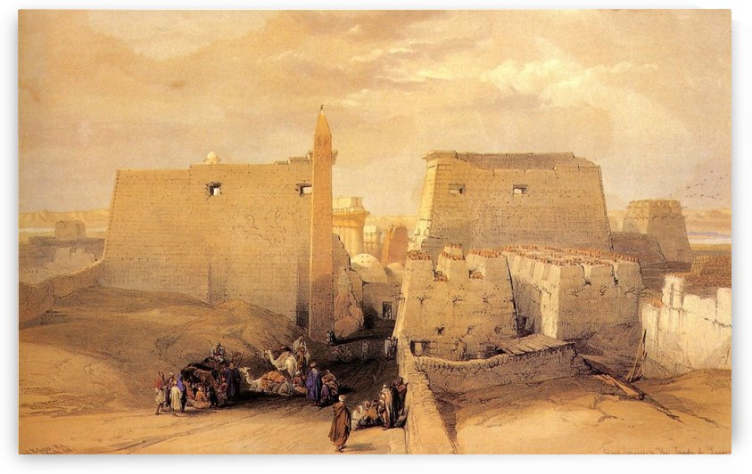 Grand entrance to Temple Luxor 1838 by David Roberts