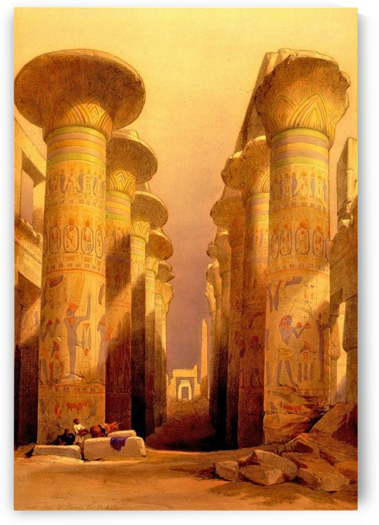 Ancient columns near the entrance to temple by David Roberts