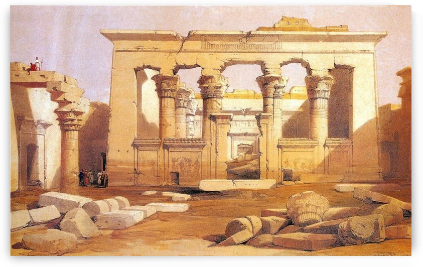 Ancient Egyptian civilization ruins with figures by David Roberts