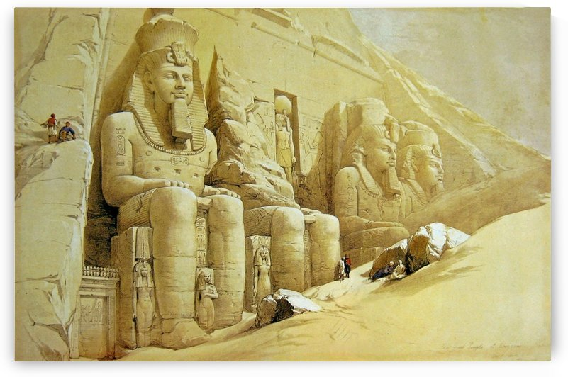 1838 Colossal figures in front of the Great Temple of Aboo-Simbel by David Roberts