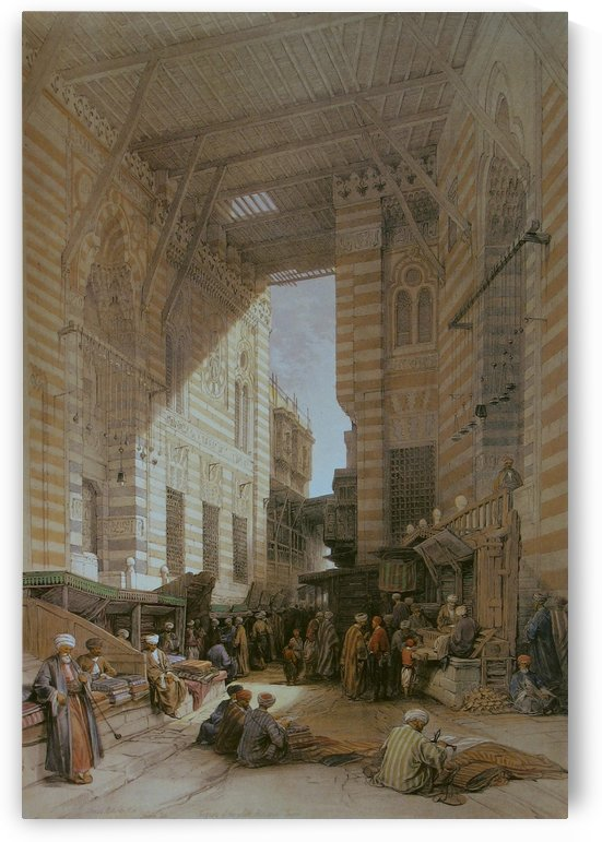 Oriental figures outside a mosque by David Roberts