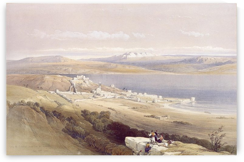 Tiberias, looking towards Hermon by David Roberts