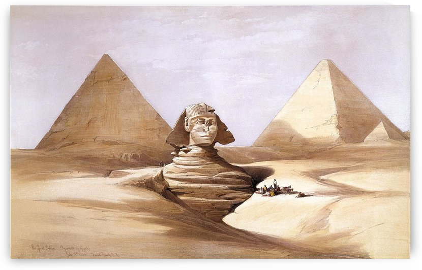1839 The Great Sphinx and Pyramids of Giza by David Roberts