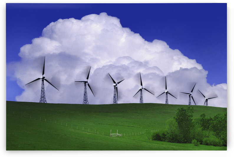 Wind Generators With Clouds In Background by PacificStock