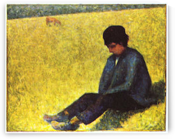 Boy sitting on a lawn by Seurat by Seurat